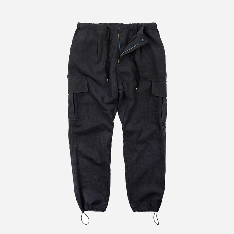 Linen cargo string pants _ charcoal