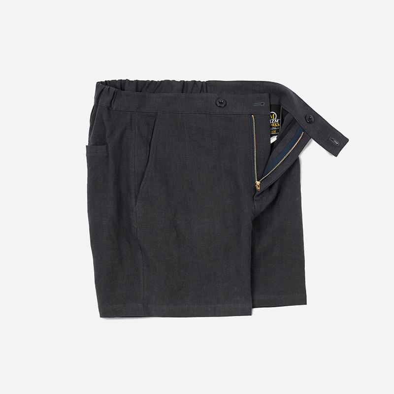 Linen strap shorts _ charcoal