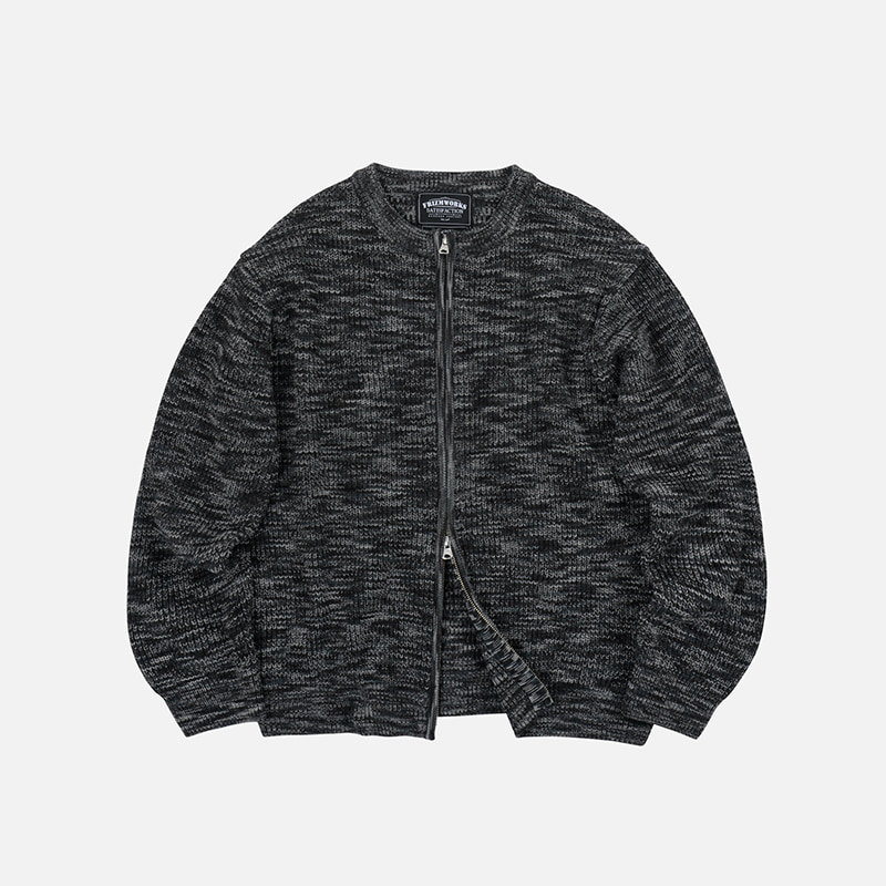 Round neck zipup knit _ charcoal