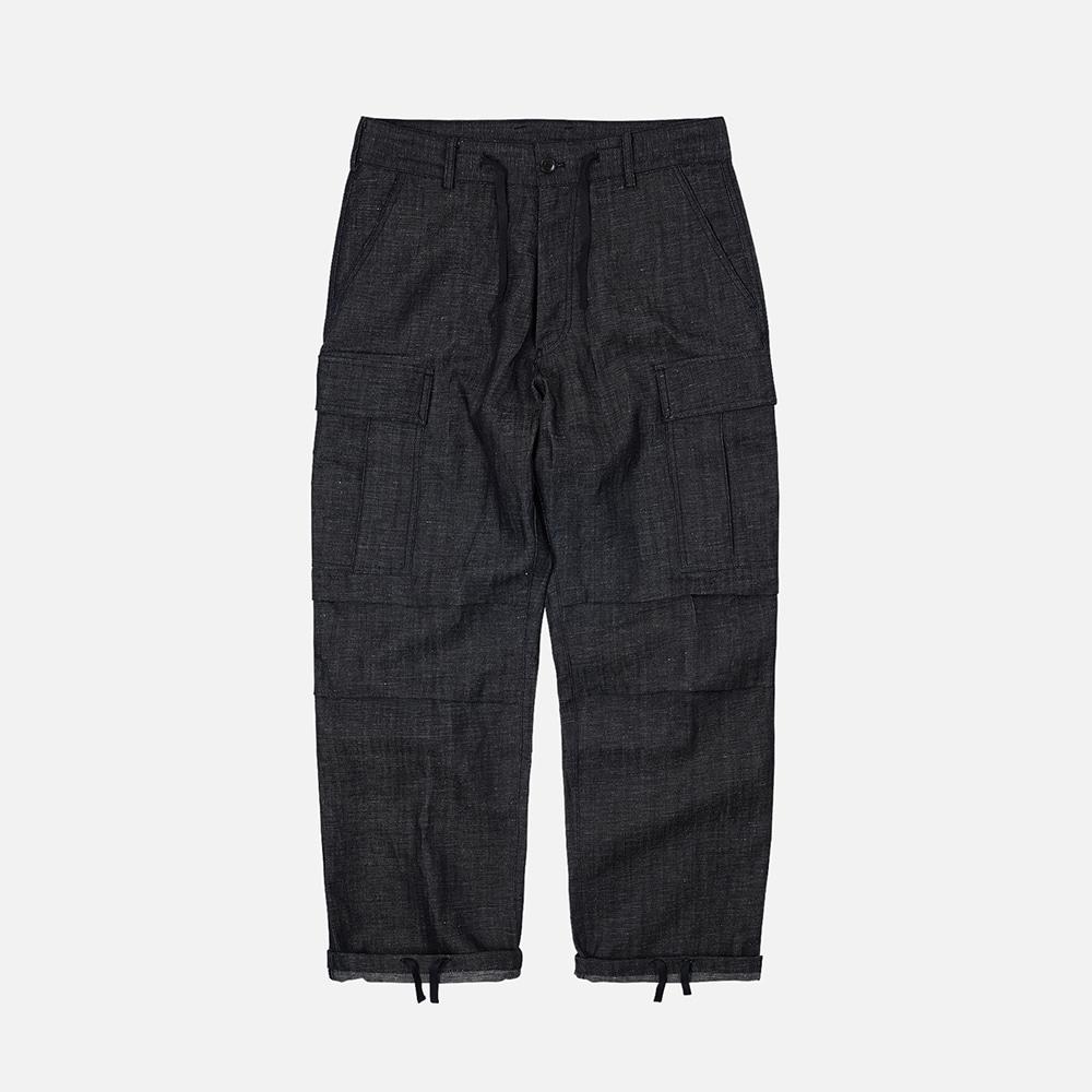 Linen M65 cargo pants _ indigo