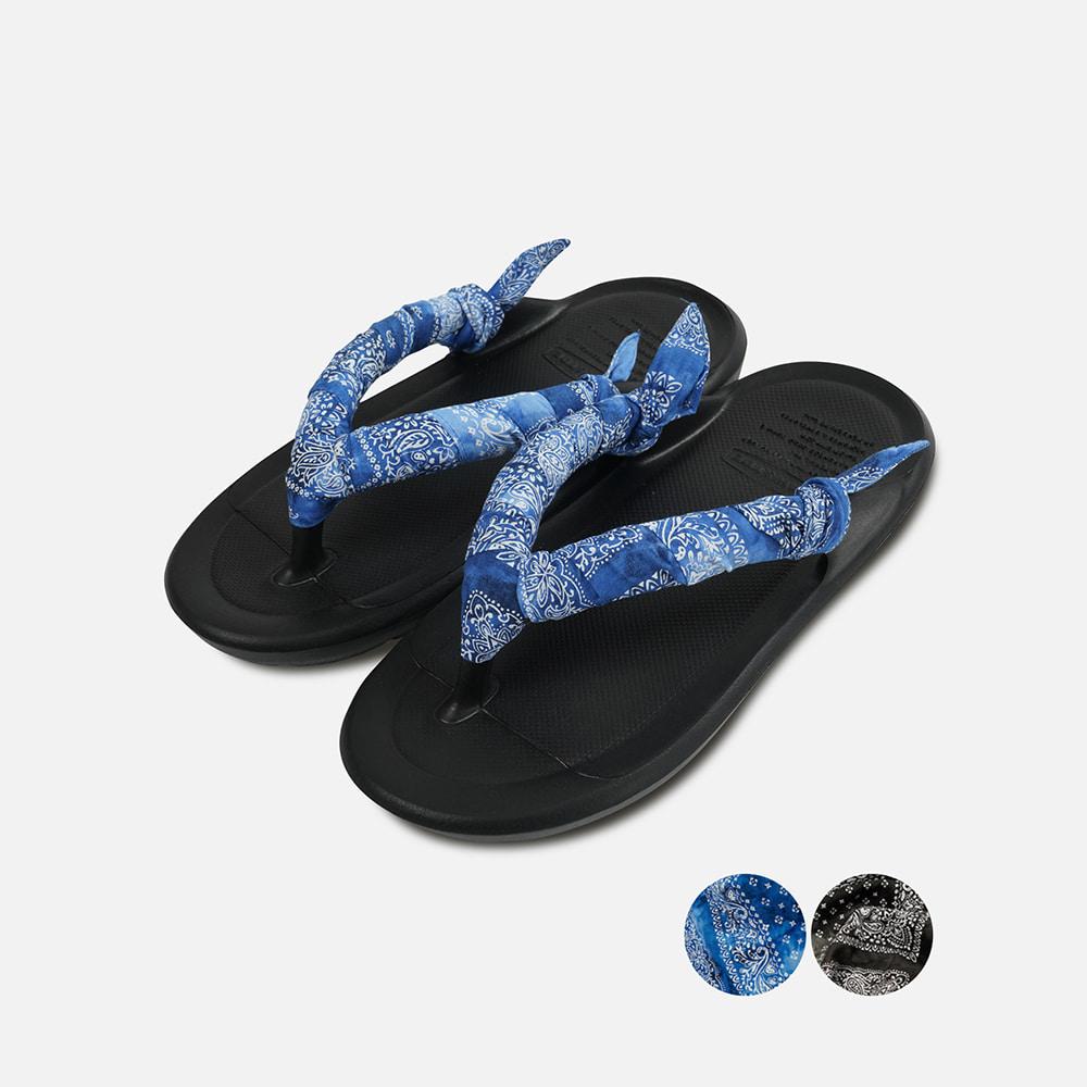 [TAW&TOE® X FRIZMWORKS]Tie-dyed Paisley Scarf ZEROVITY™ Flipflop _ black
