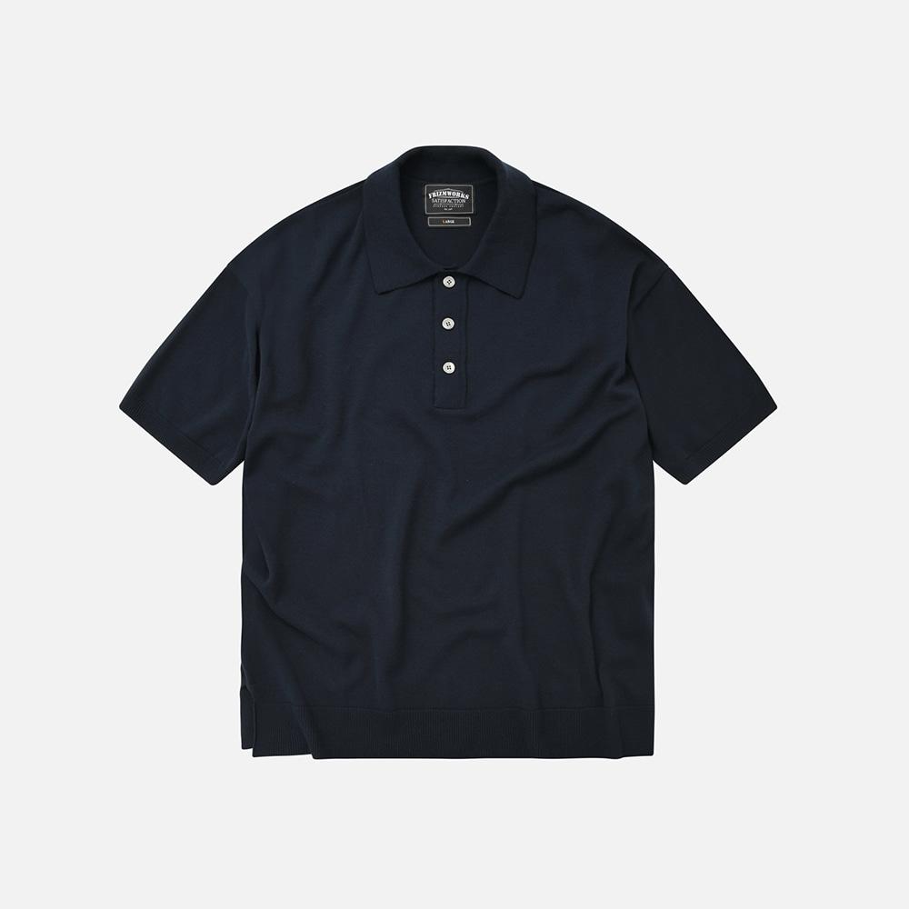 Oversized half collar knit _ navy