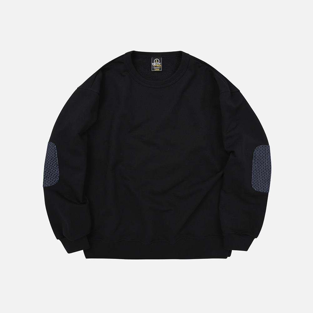 Denim patch sweatshirt _ black