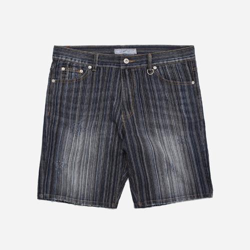 Washed denim short _ stripe
