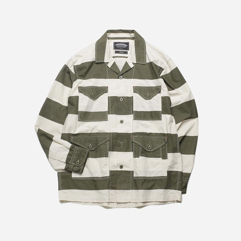 M65 shirt jacket _ stripe olive
