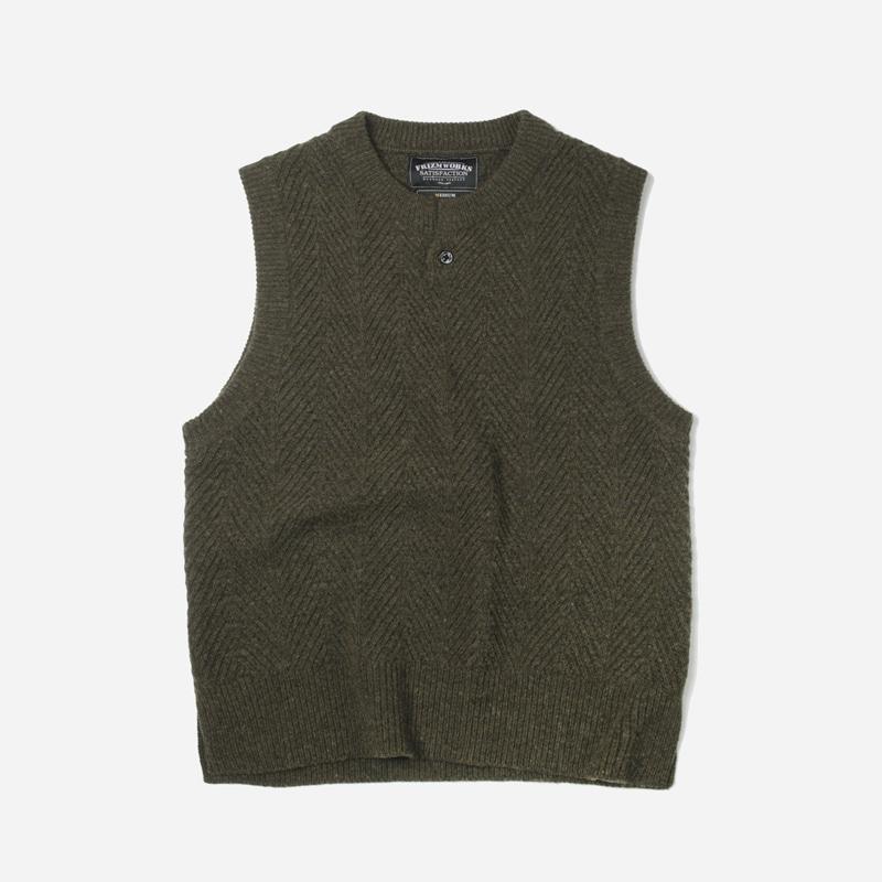 Herringbone knit vest _ mossgreen