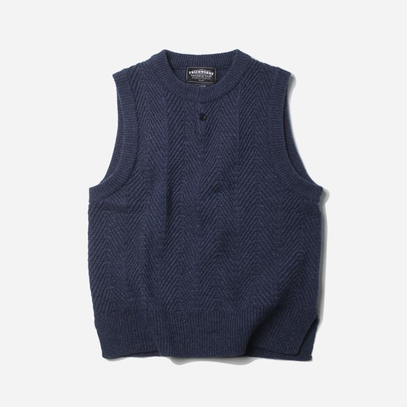 Herringbone knit vest _ indigo