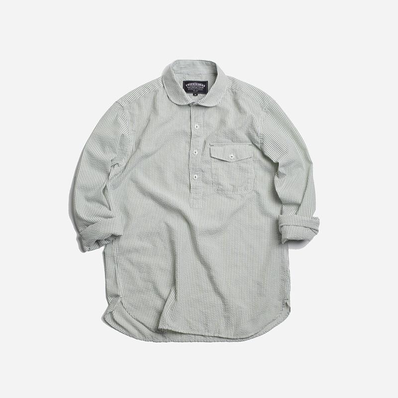 Seersucker pullover shirt 002 _ greentea