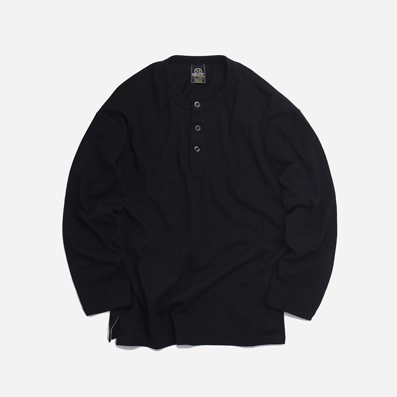 10s Solid henley neck tee _ black