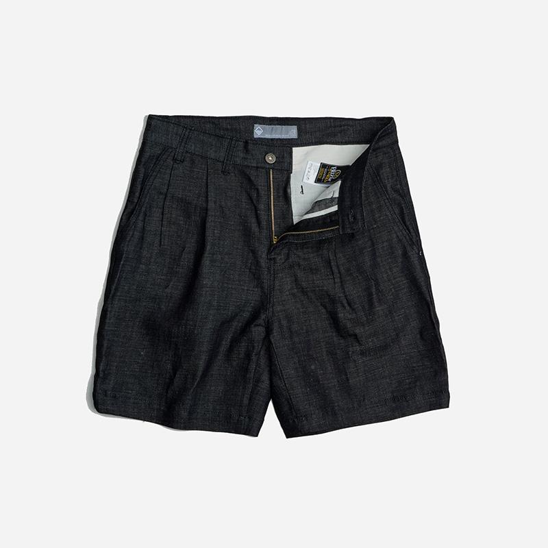 Two tuck wide shorts _ indigo
