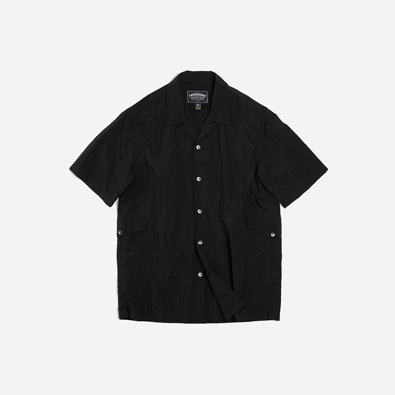 Side pocket nylon shirt _ black