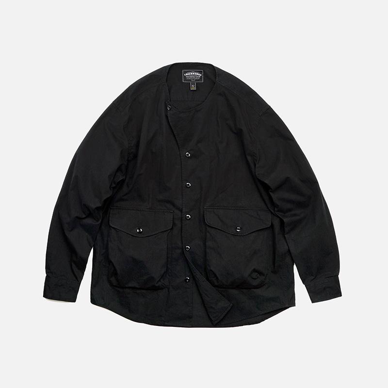 Collarless shirt jacket _ black
