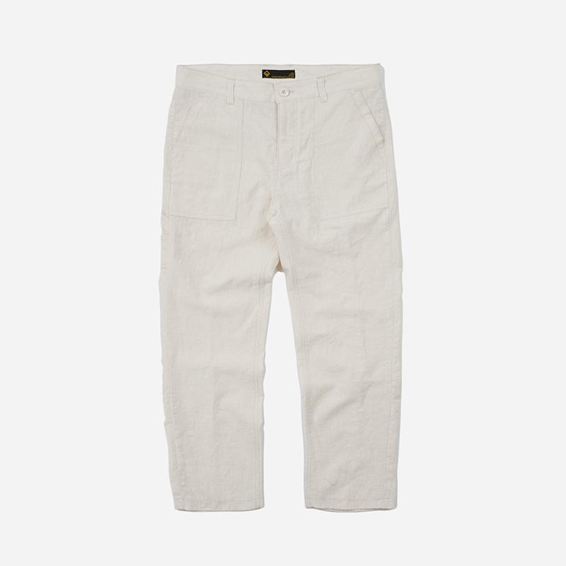 Linen fatigue pants _ natural