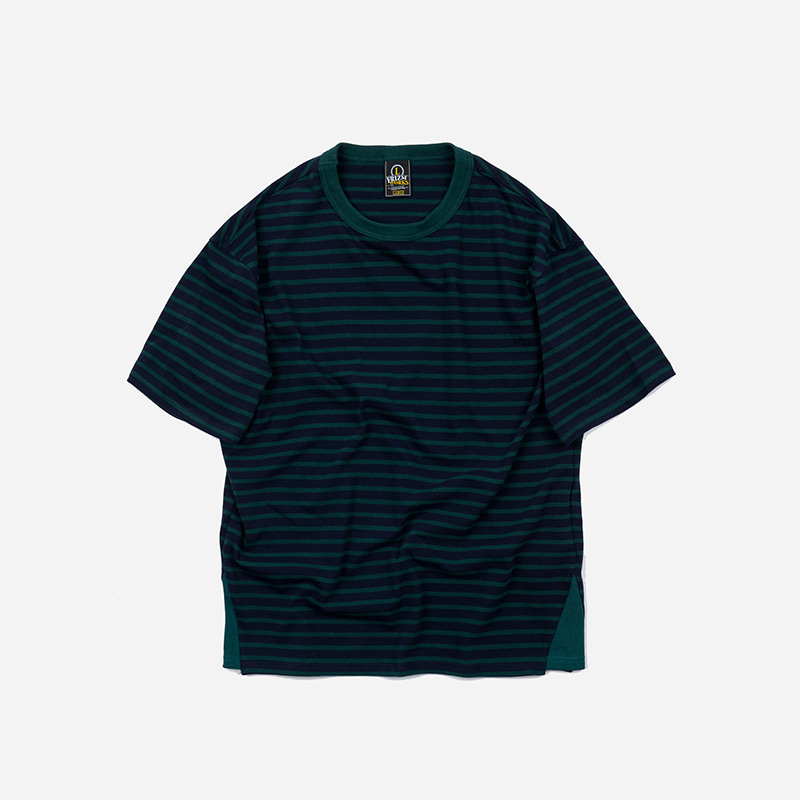 Side gusset stripe tee _ green / navy