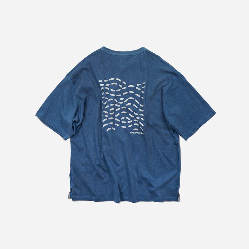 Washed make wave tee _ blue