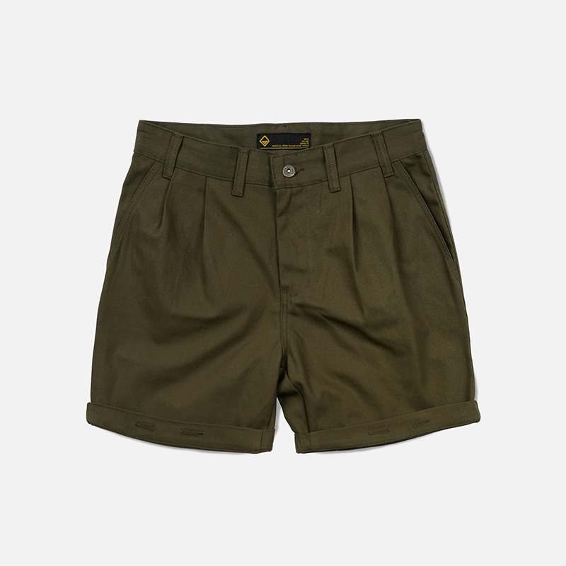 Two tuck work shorts _ olive
