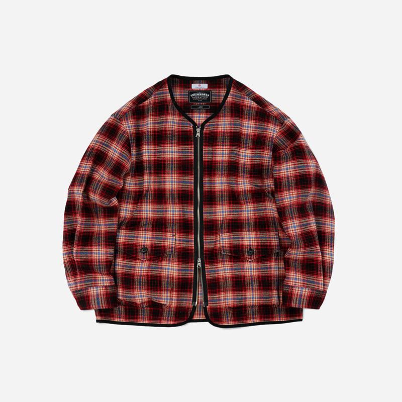 Heavy flannel zip up jacket _ red