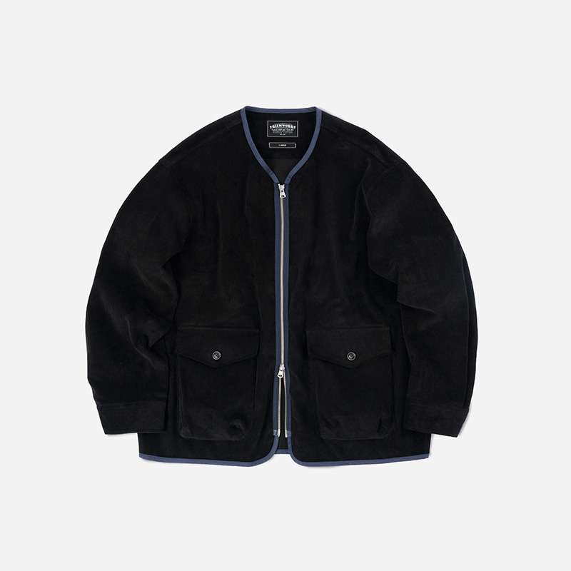 Corduroy zip up jacket _ black