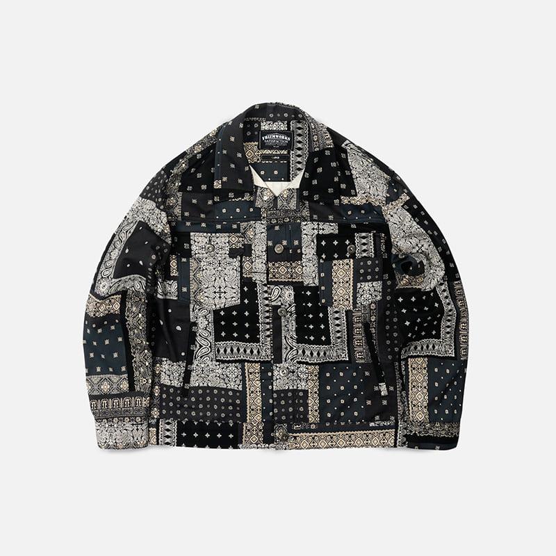 Bandana trucker jacket _ black