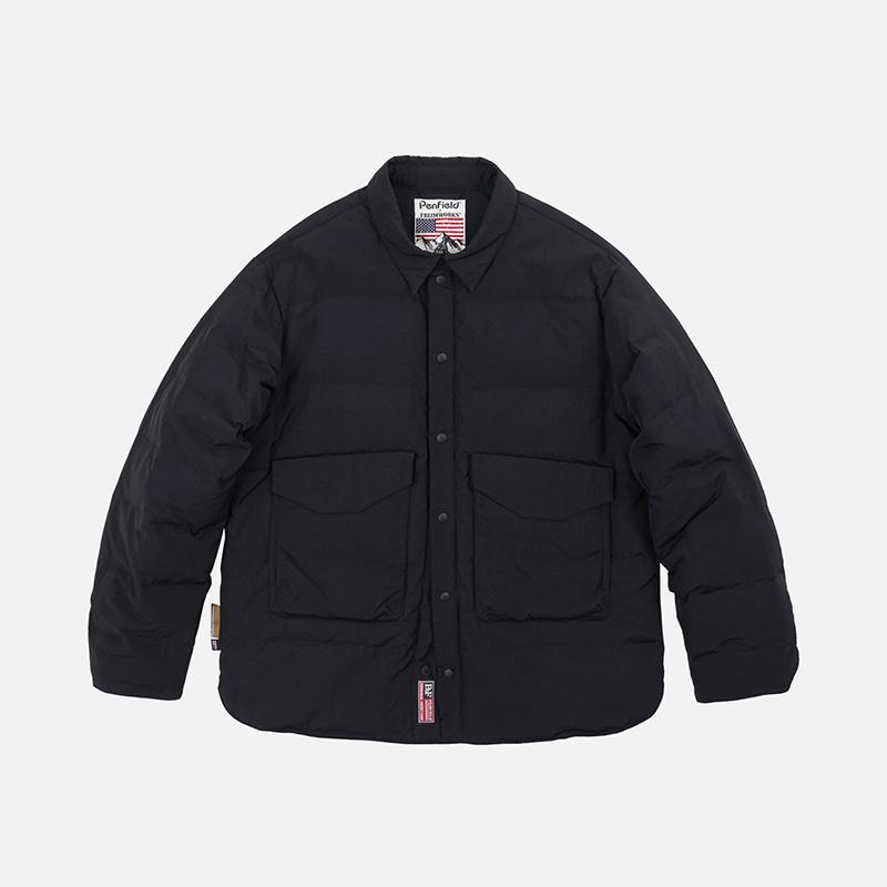 [PENFIELD X FRIZMWORKS]Camouflage down shirt jacket _ black