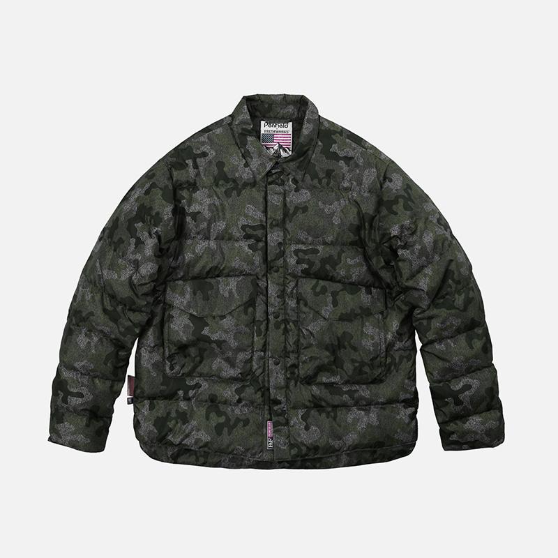 [PENFIELD X FRIZMWORKS]Camouflage down shirt jacket _ khaki