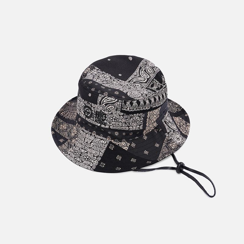 [FWS X USS2] Reversible bandana bucket hat _ black