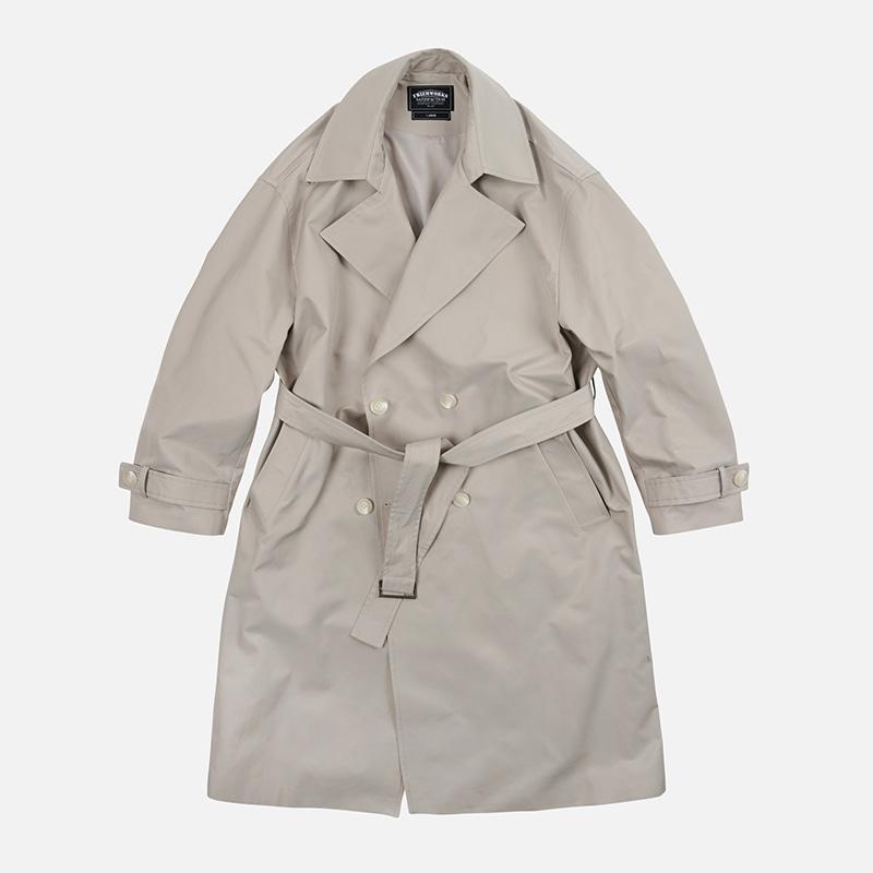 Oversized minimal trench coat _ khaki gray