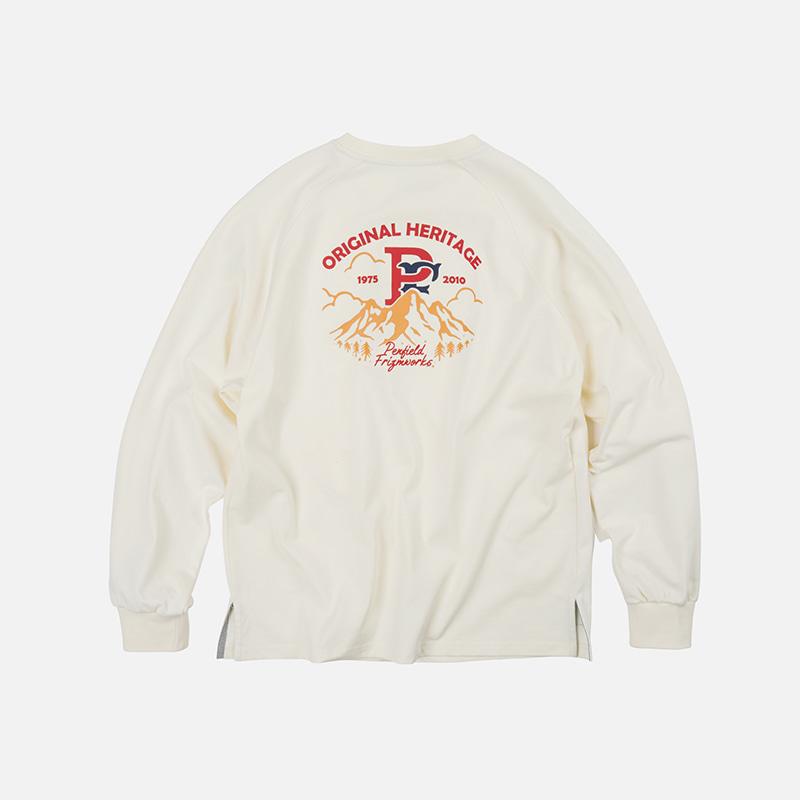 [PENFIELD X FRIZMWORKS] P&F Mountain logo long sleeve _ ivory