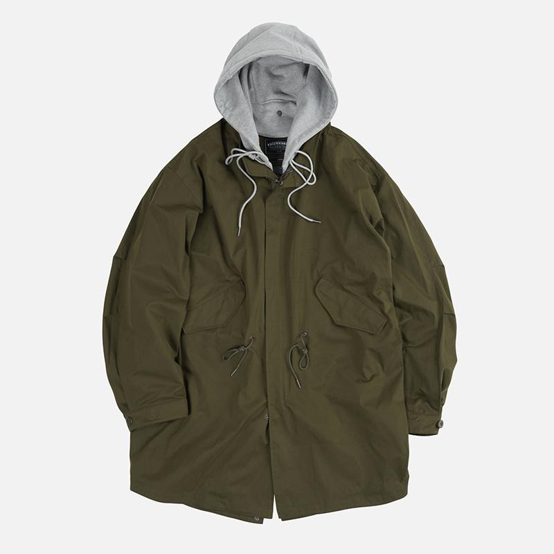 Detachable hooded fishtail jacket _ olive