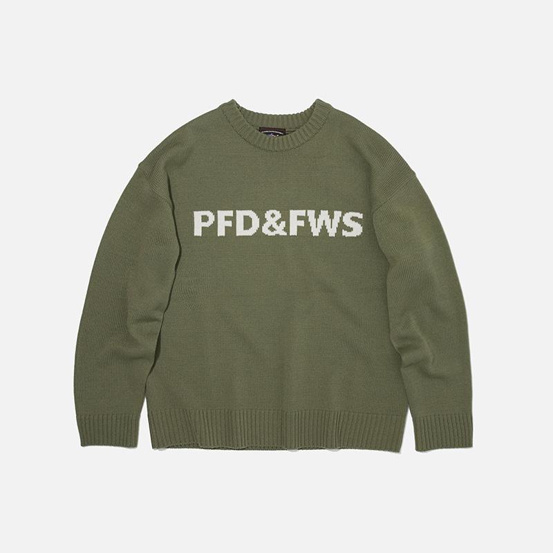 [PENFIELD X FRIZMWORKS] PFD&FWS Logo knit _ light khaki