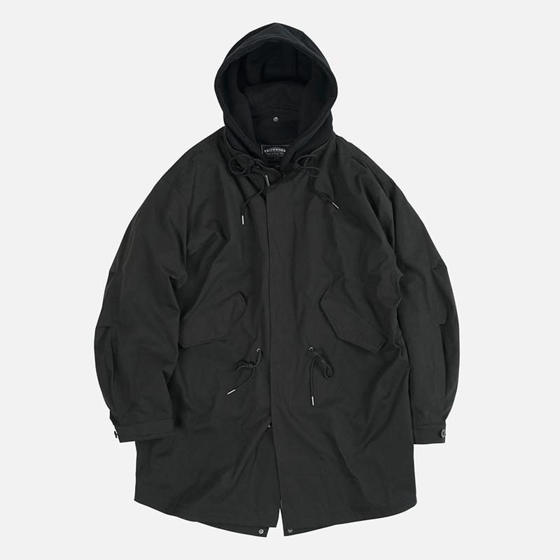 Detachable hooded fishtail jacket _ black