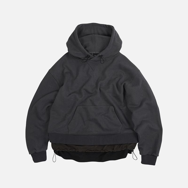 Double layered hoody _ dark gray