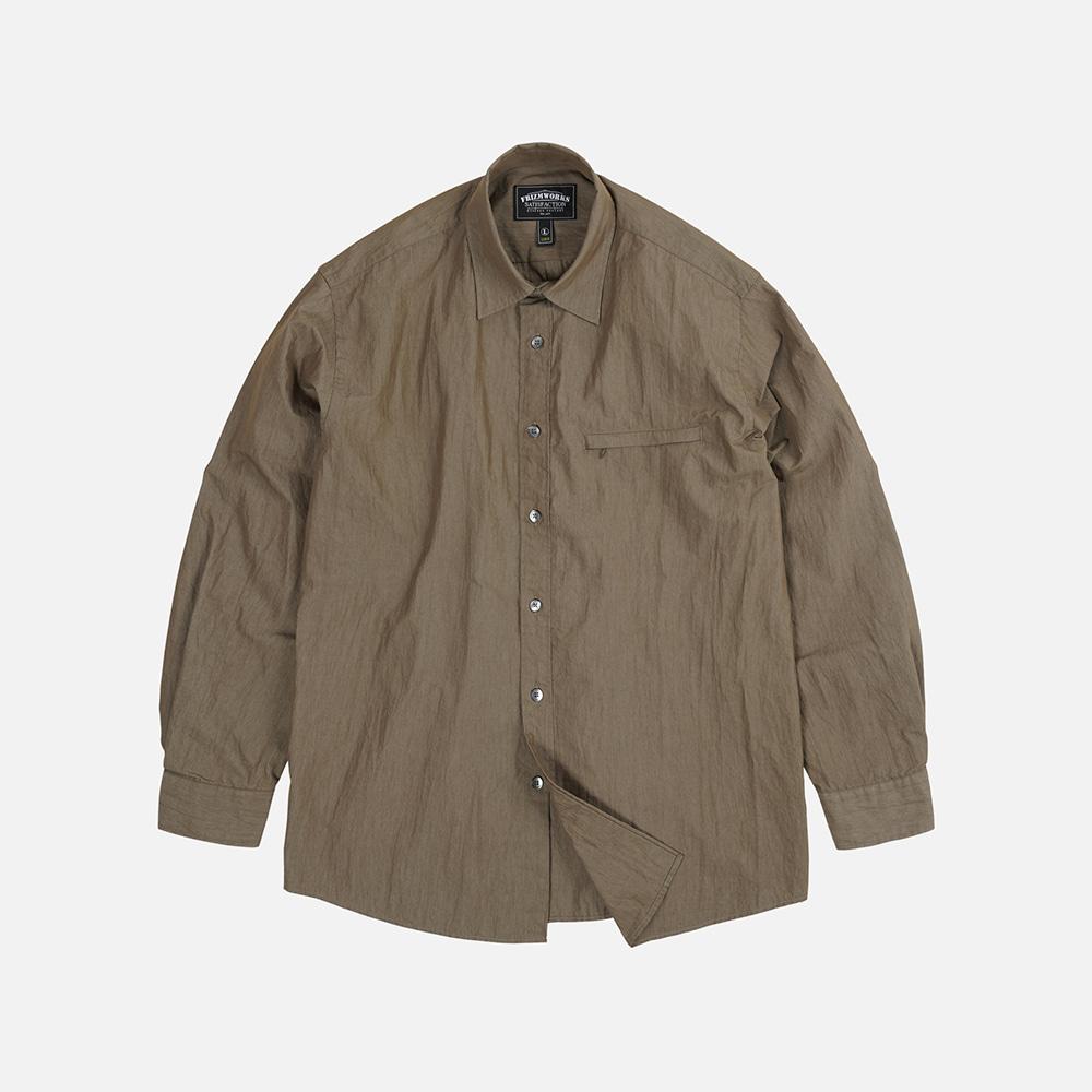 Nylon double vent shirt _ brown