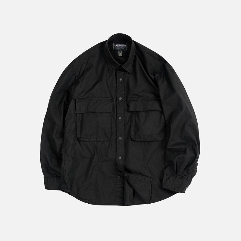 Cotton ripstop fatigue shirt _ black