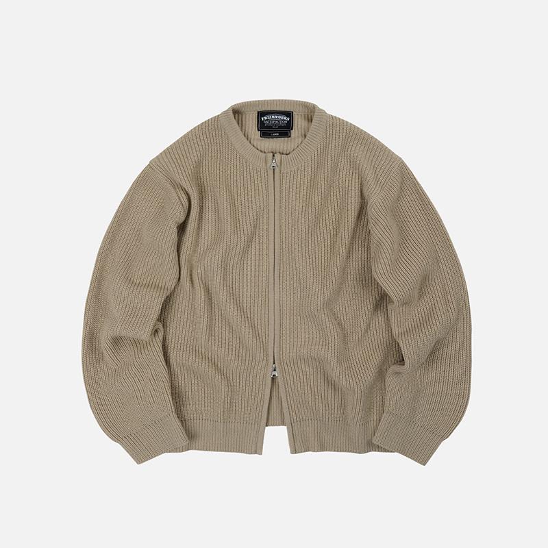 Round neck zipup knit _ light beige