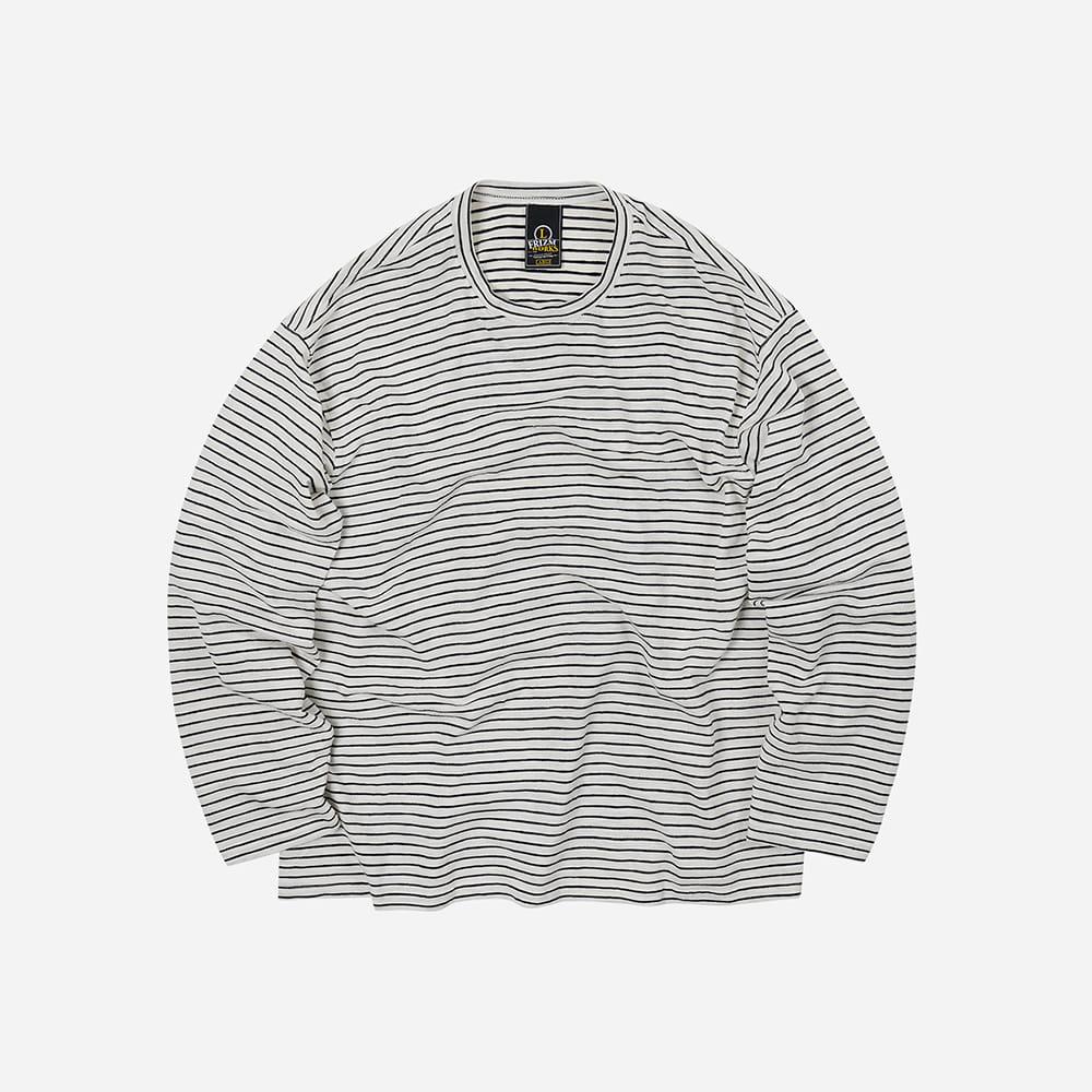 Stripe oversized relax tee _ ivory
