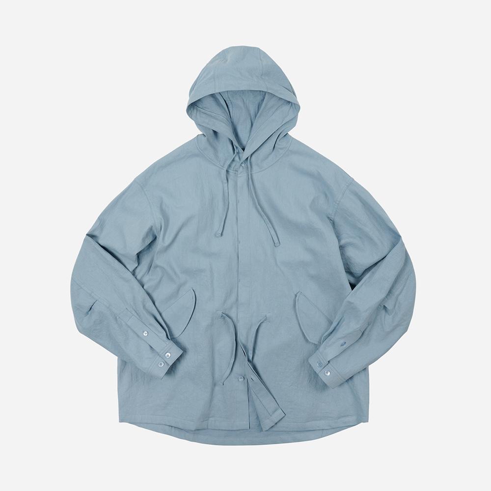 Linen fishtail shirt jacket _ sky blue