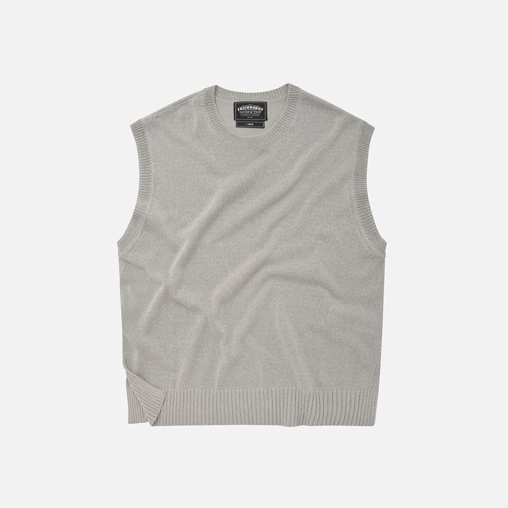 Linen knit vest _ gray