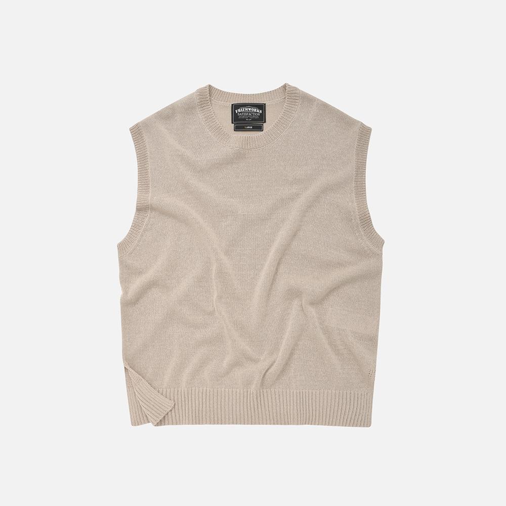 Linen knit vest _ beige