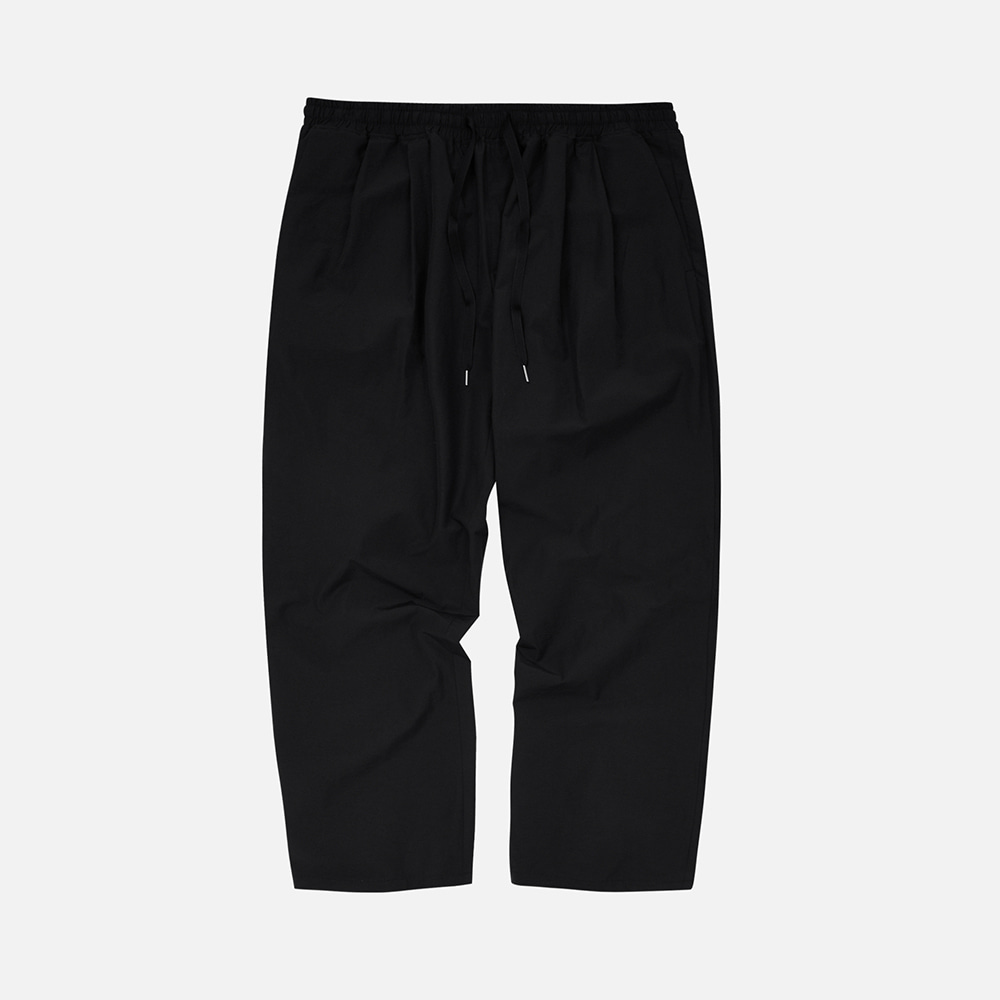 Nylon relax set-up two tuck pants _ black