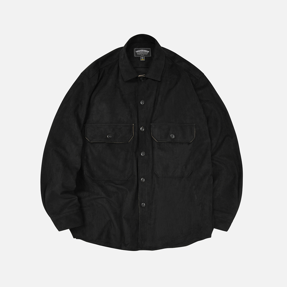Suede oversized CPO shirt _ black