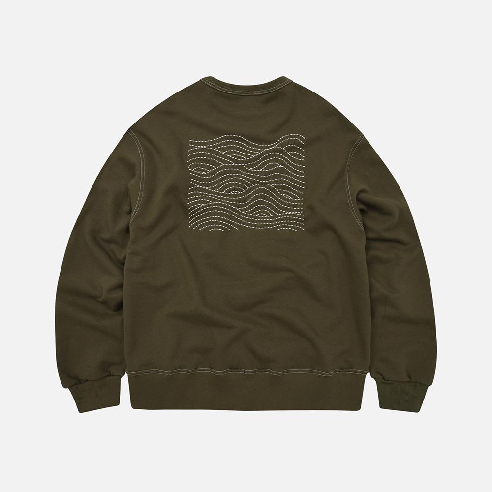 Wave needlework sweatshirt _ olive