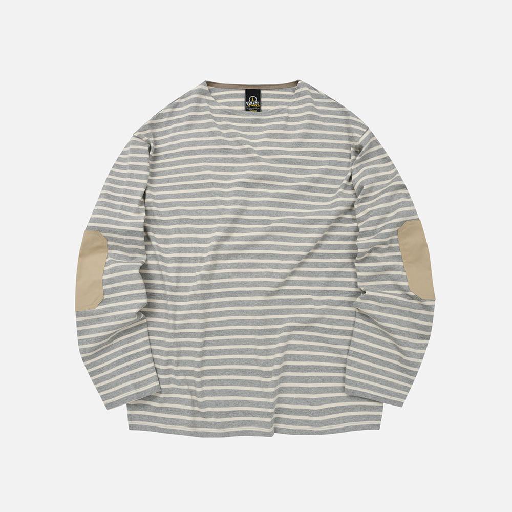 Patch stripe boat neck 002 _ gray
