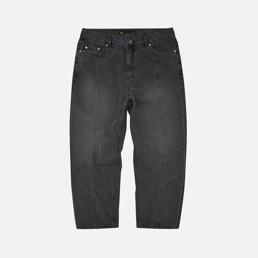 Incision denim pants _ washed black