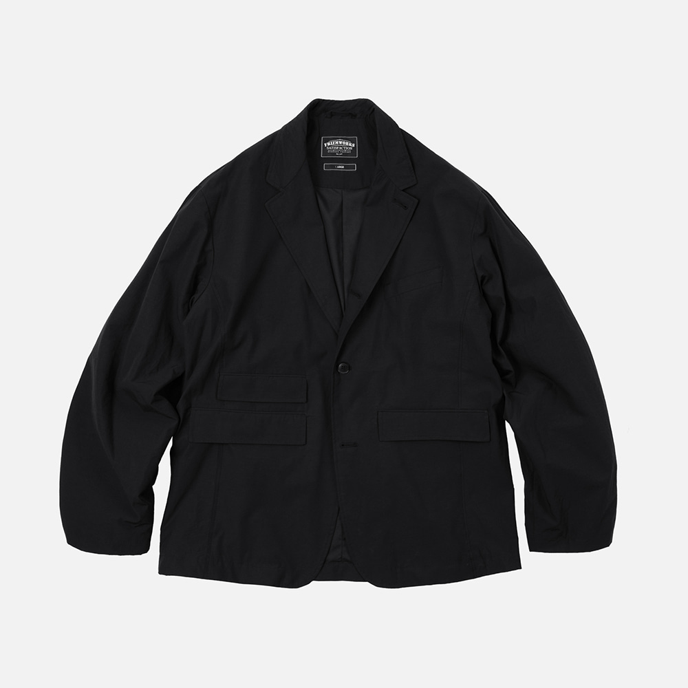 Nylon relax set-up blazer jacket _ black