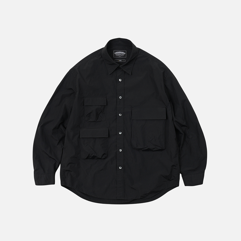 Nylon 3 pocket shirt jacket _ black