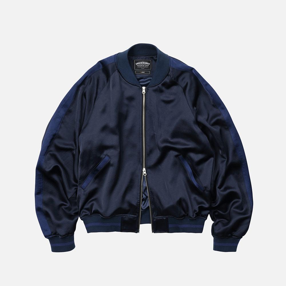 Viscose satin jacket _ navy