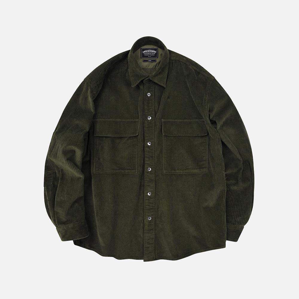 Heavy 8W corduroy shirt jacket _ olive