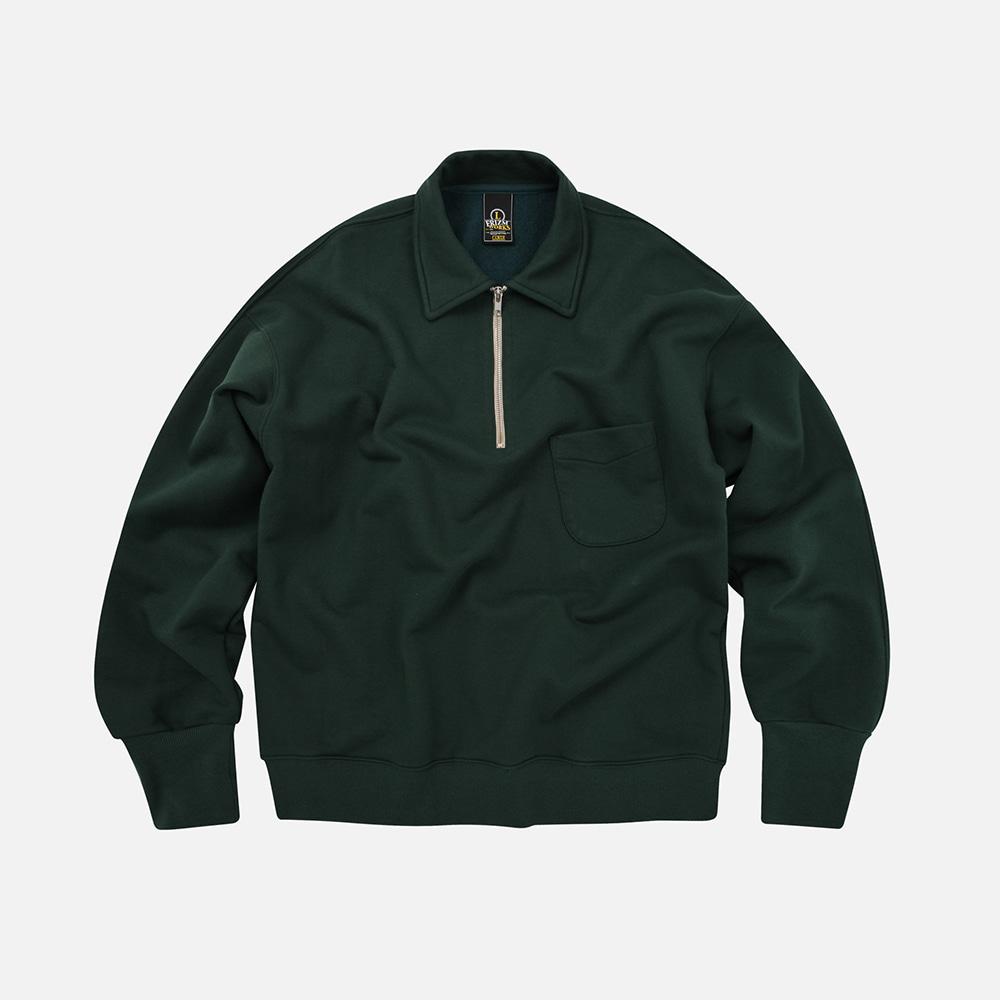 Collar half-zip sweatshirt _ forest green