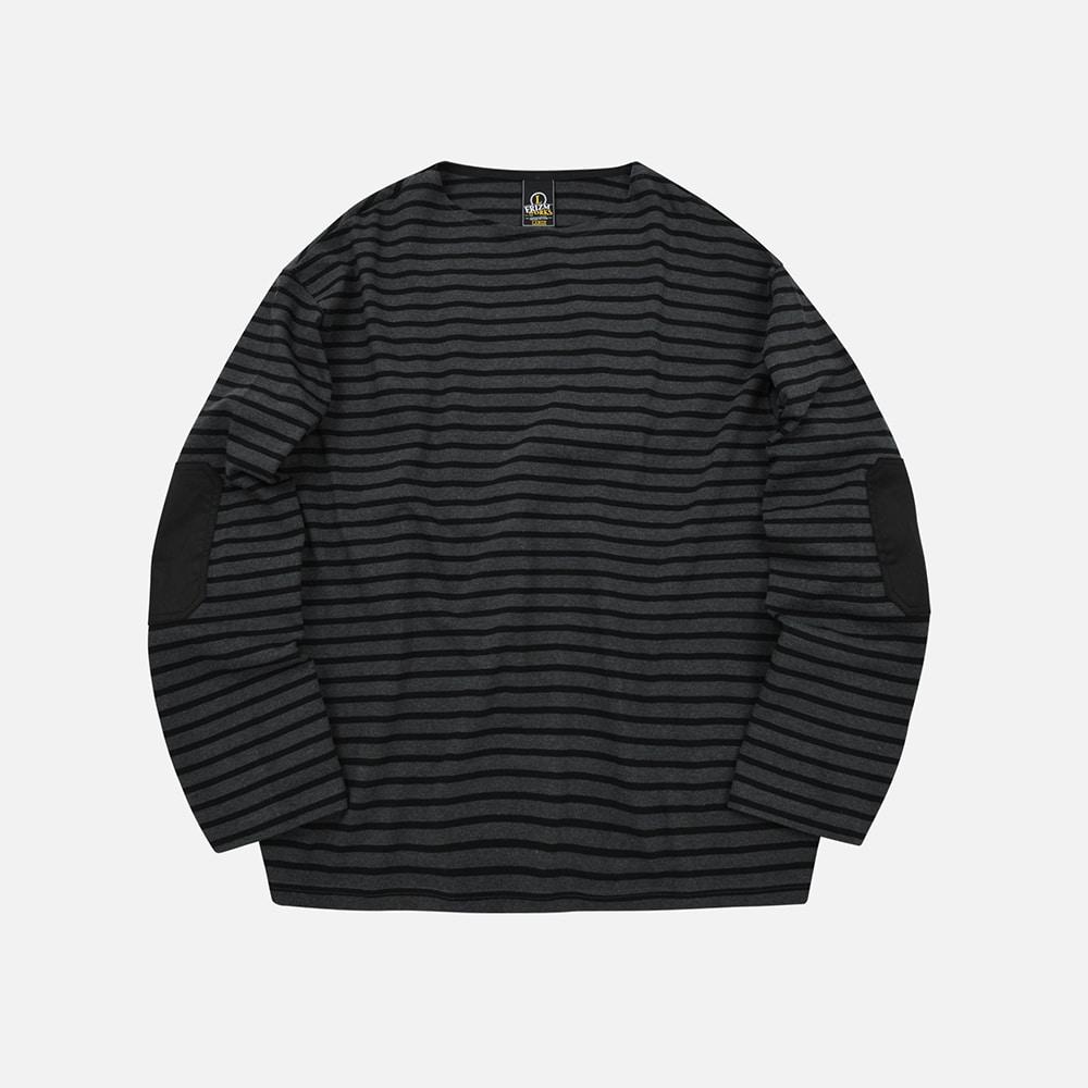 Patch stripe boat neck 002 _ black